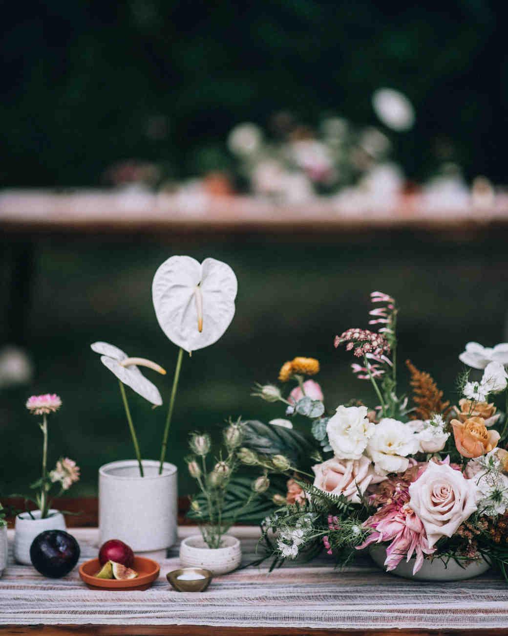 modern wedding centerpiece made of wildflowers