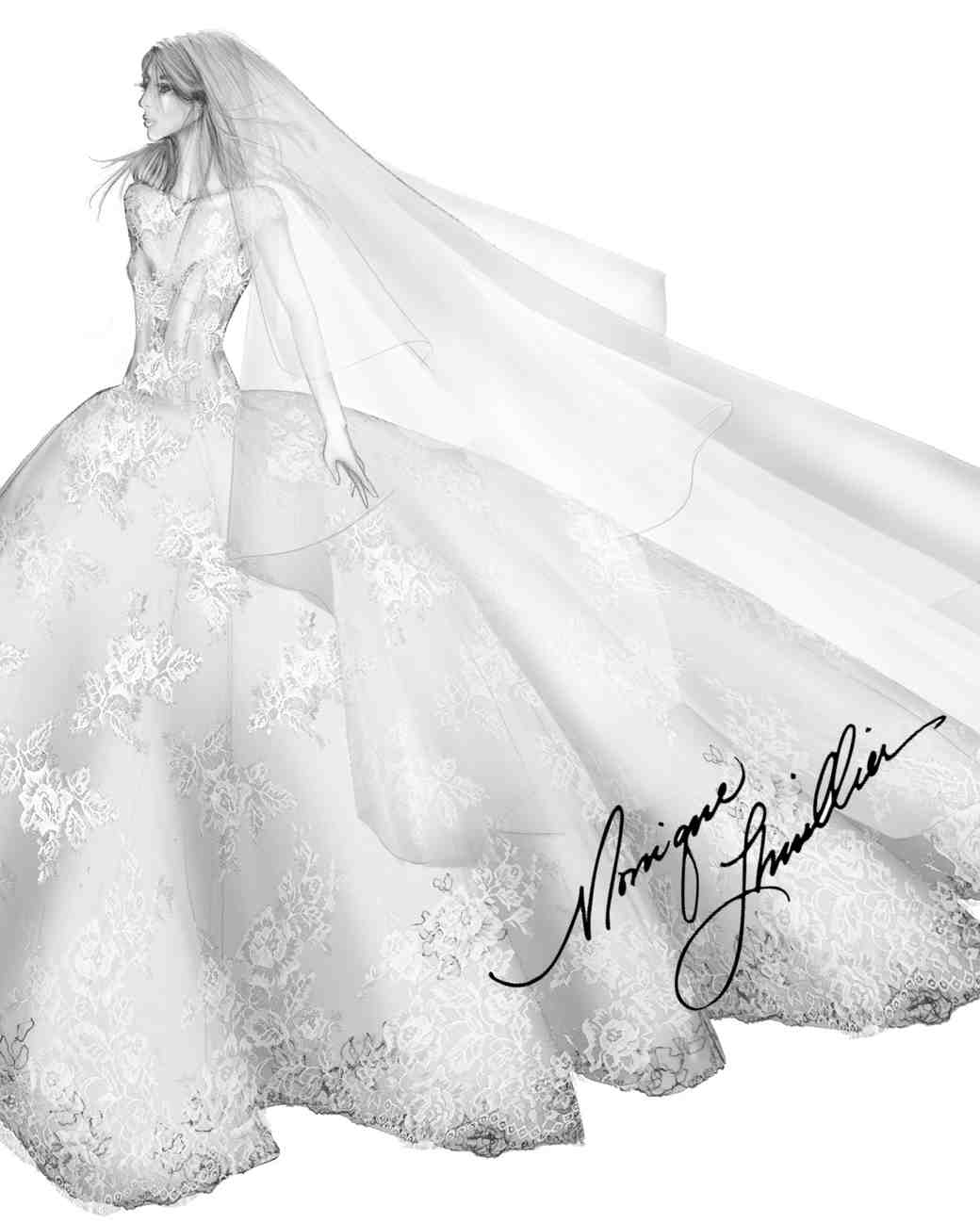 monique lhuillier wedding dress sketch