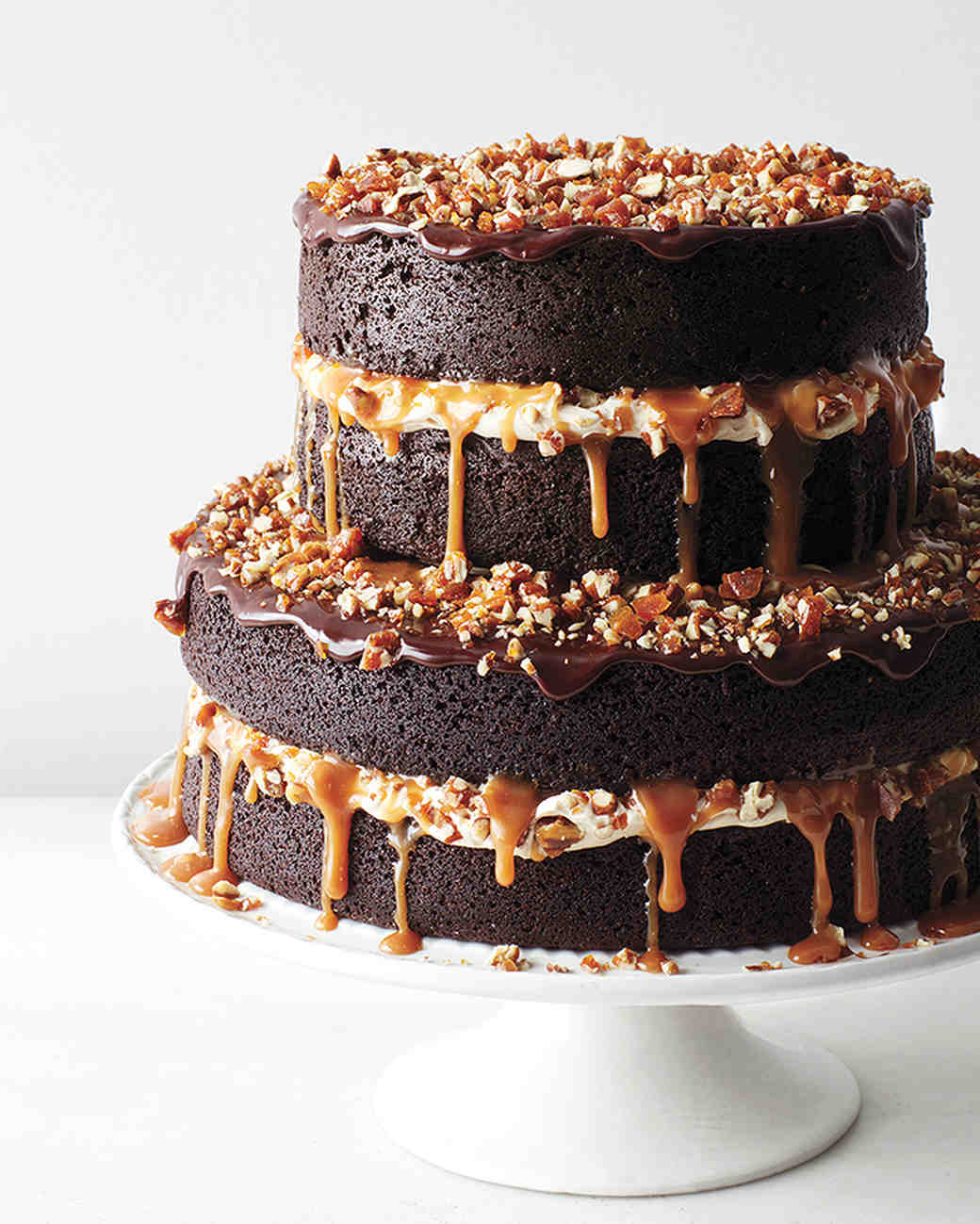 Chocolate Stout Cake With Caramel Buttercream Salted Candied Pecans And Ganache