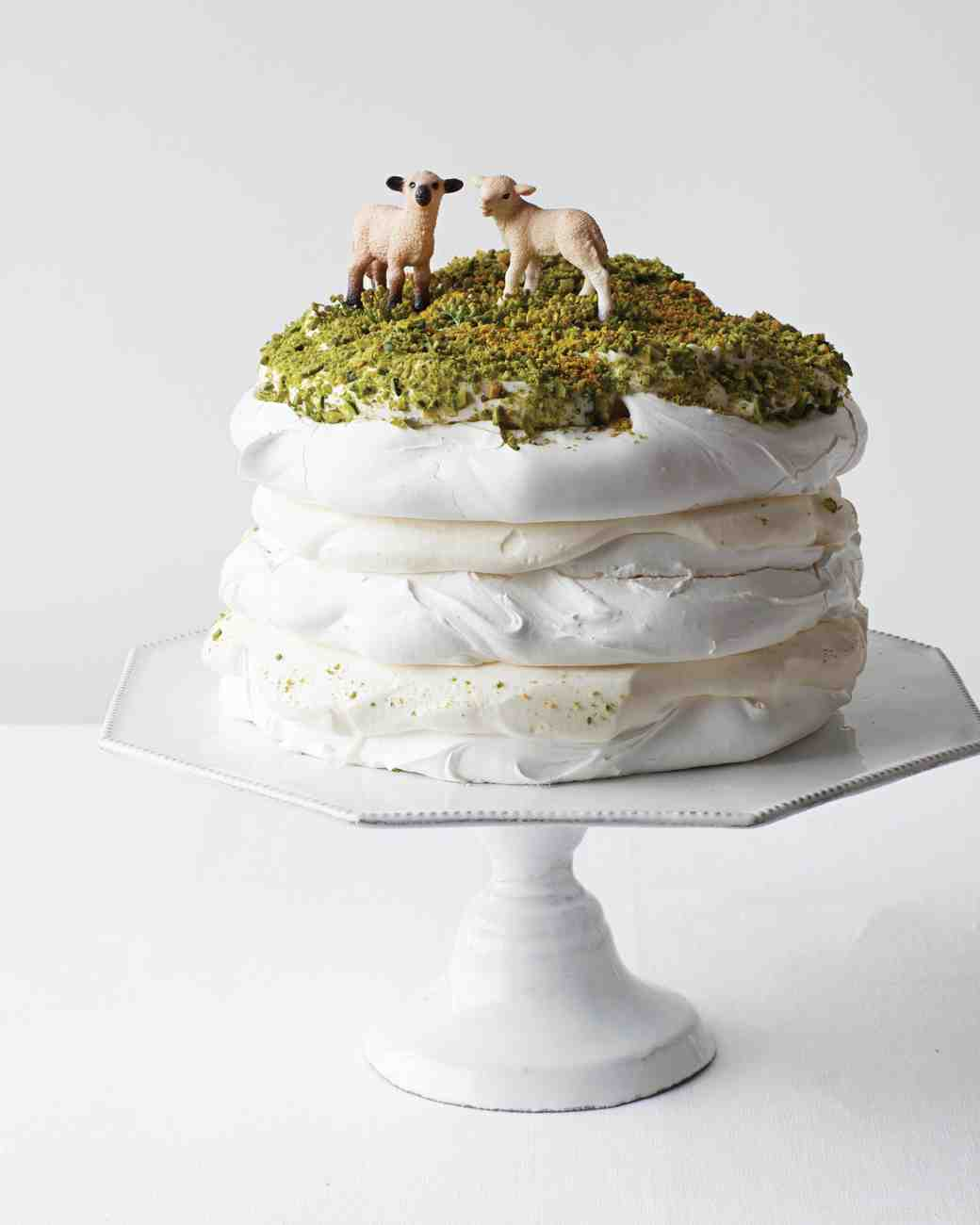 Pavlova Cake with Sheep and Moss Topper