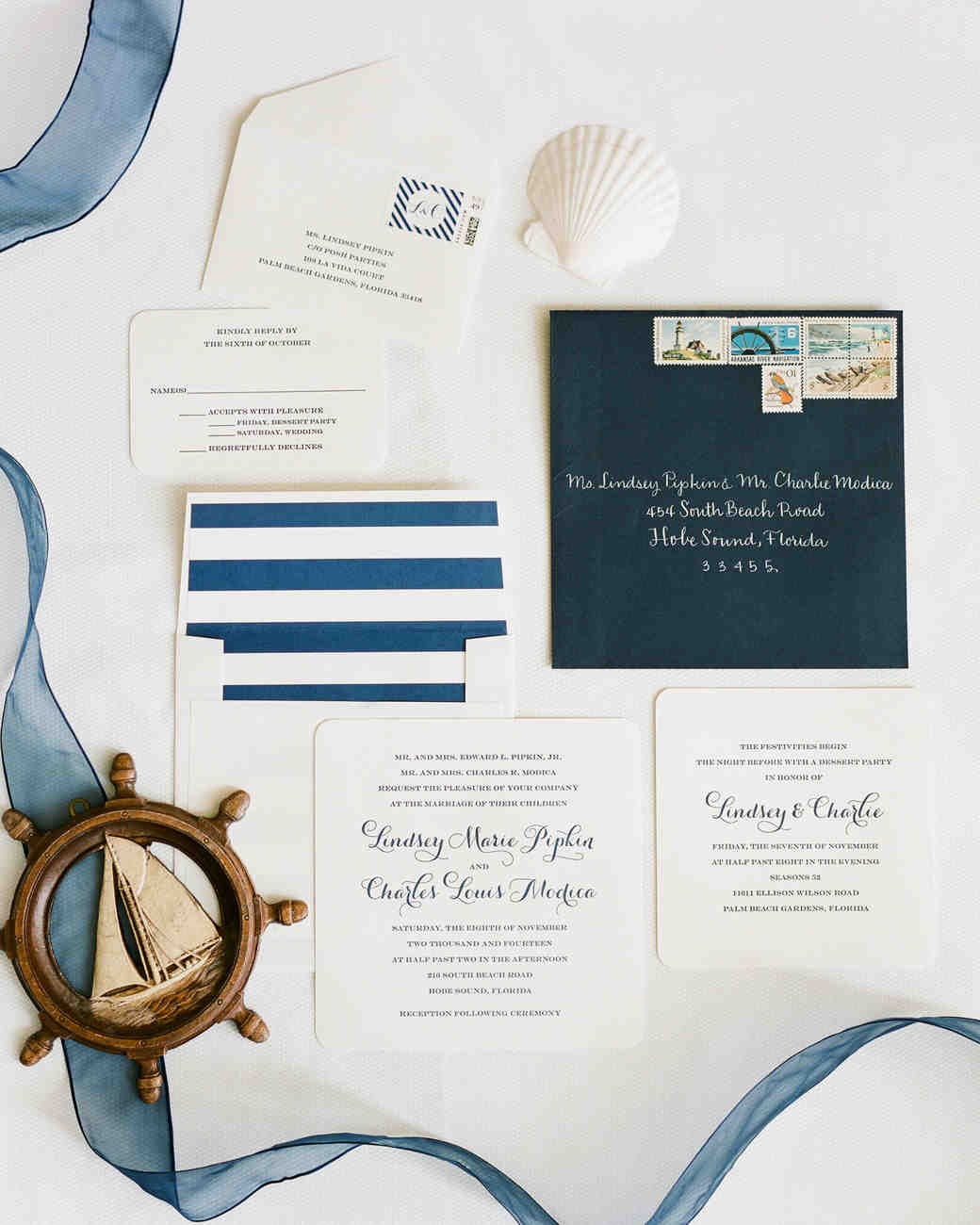 nautical invitation set beach element with blue calligraphy