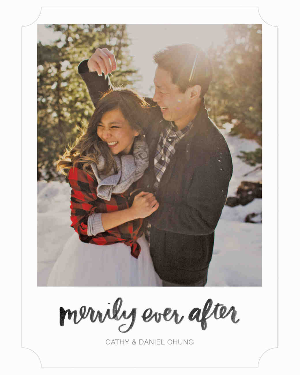 newlywed holiday card merrily ever after