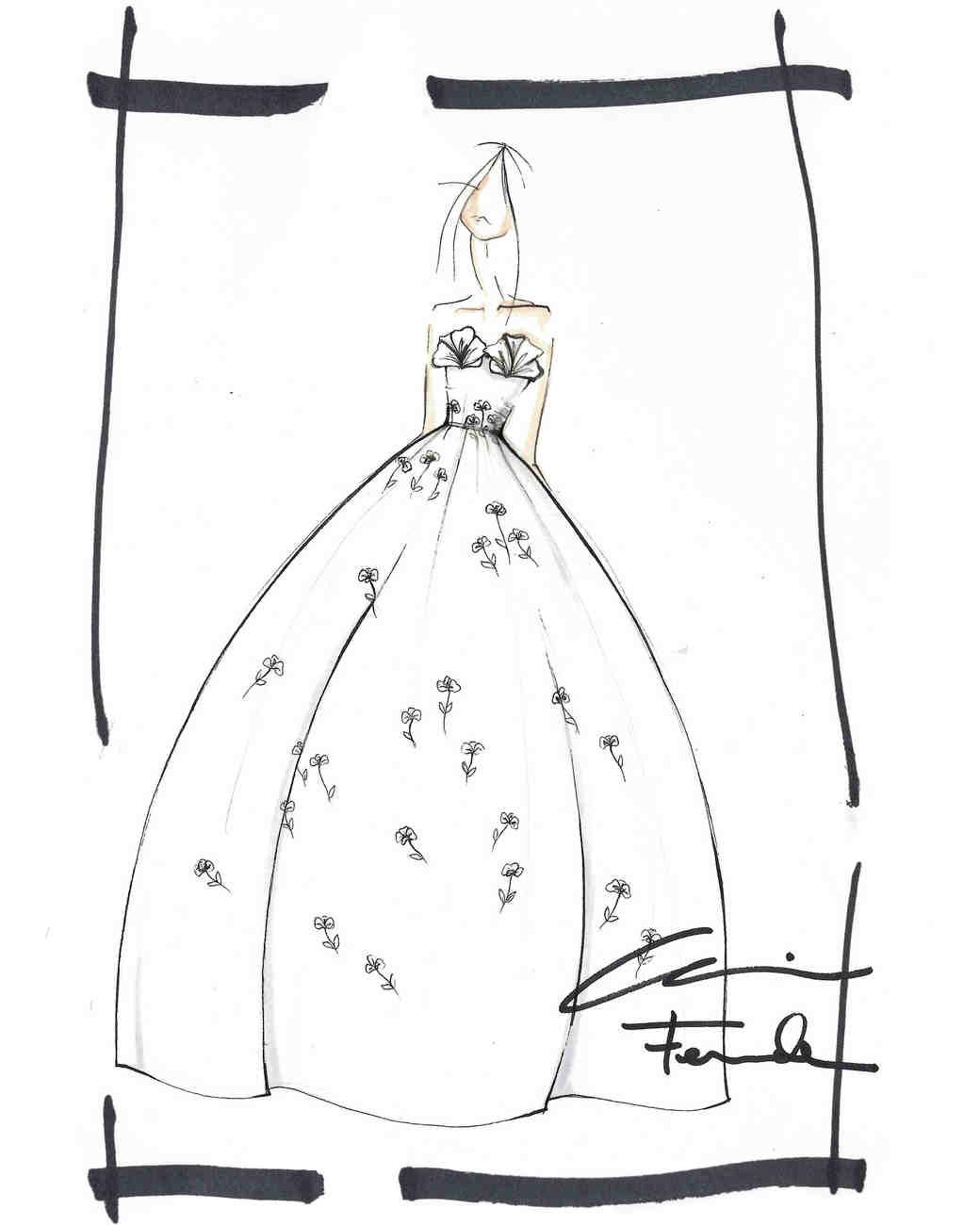 oscar de la rent wedding dress sketch