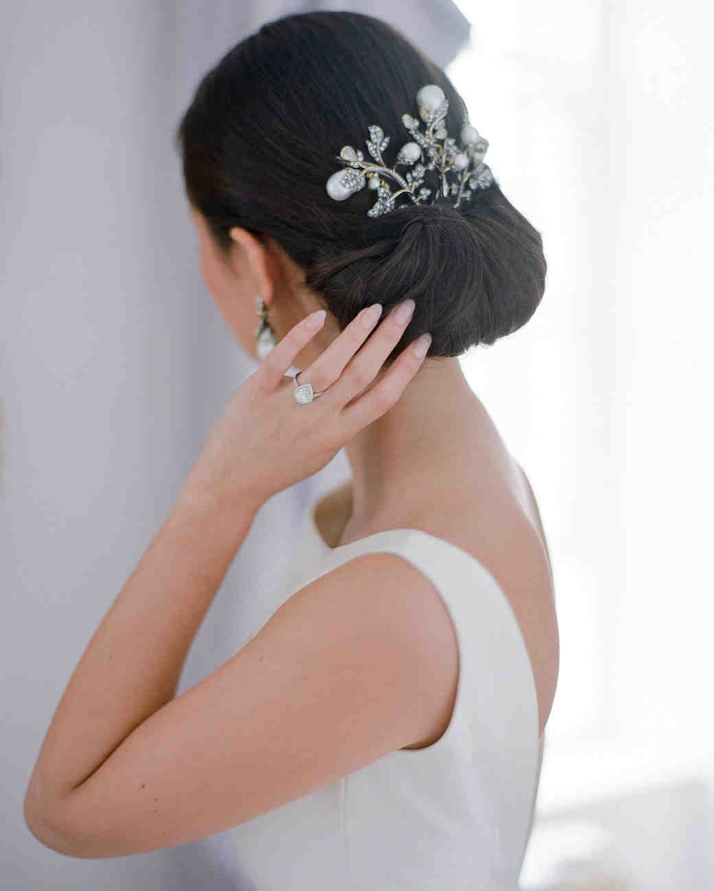 peony matthew england wedding brides updo with venetian hairpiece