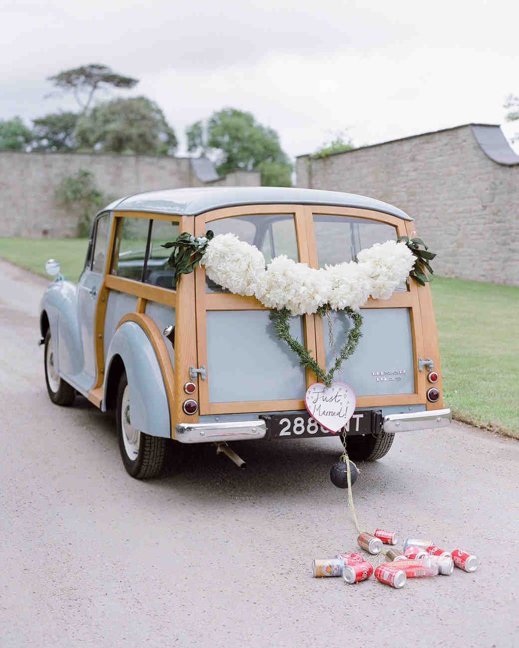 peony matthew england wedding decorated station wagon