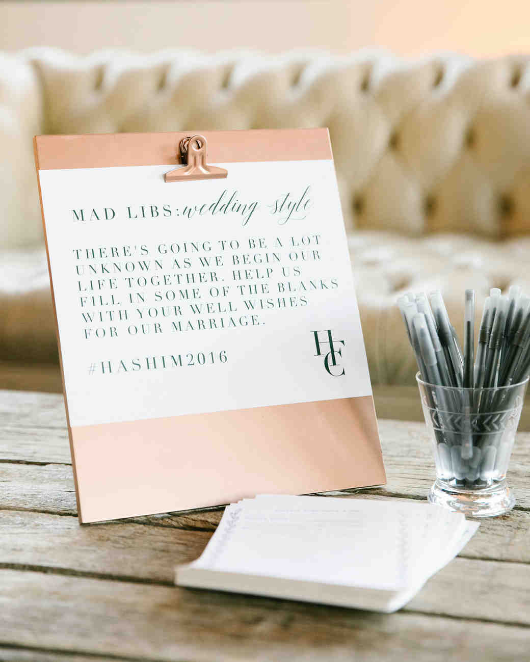 wedding mad libs advice cards clipboard pens