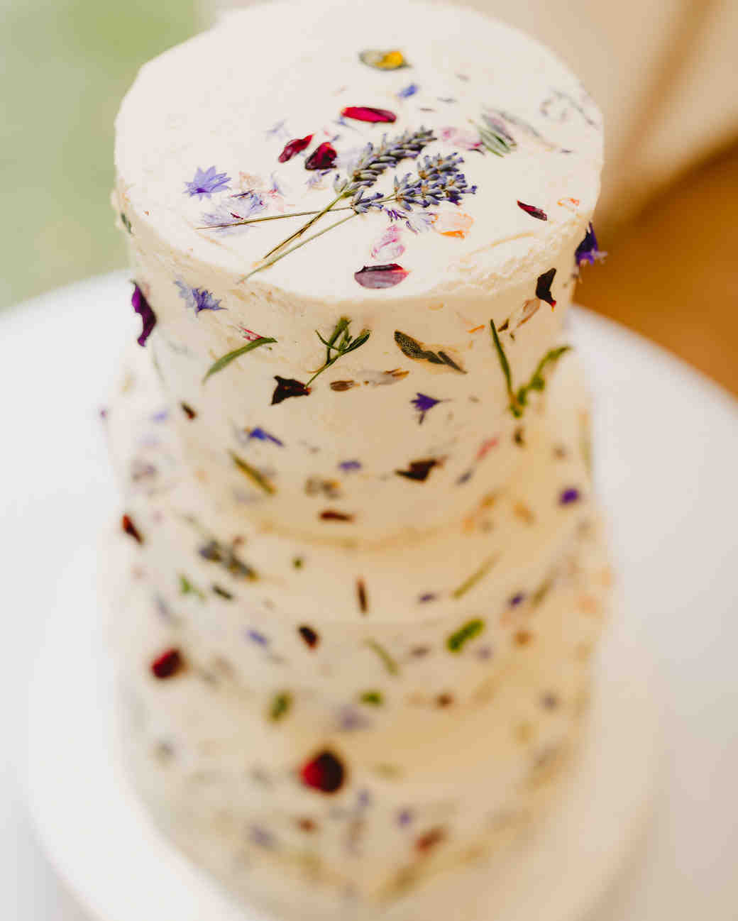 pressed wild flower wedding cake