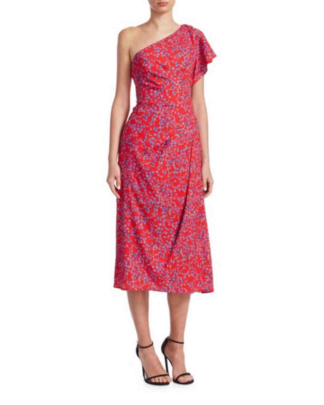 one-strap red printed gown