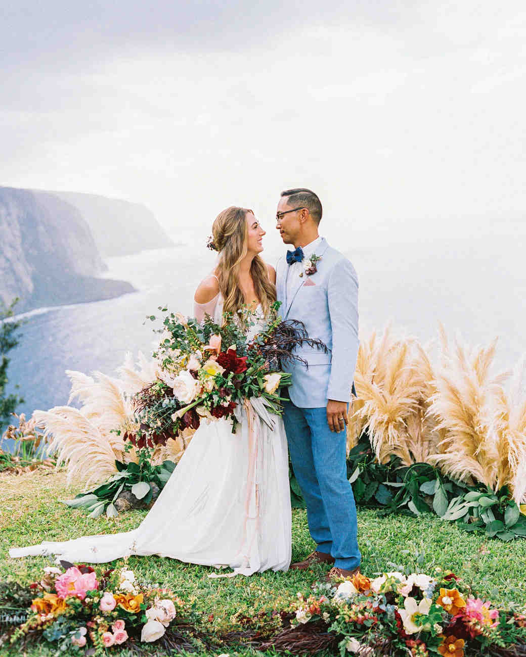 One Couple\'s Intimate Cliffside Wedding in Hawaii | Martha Stewart ...