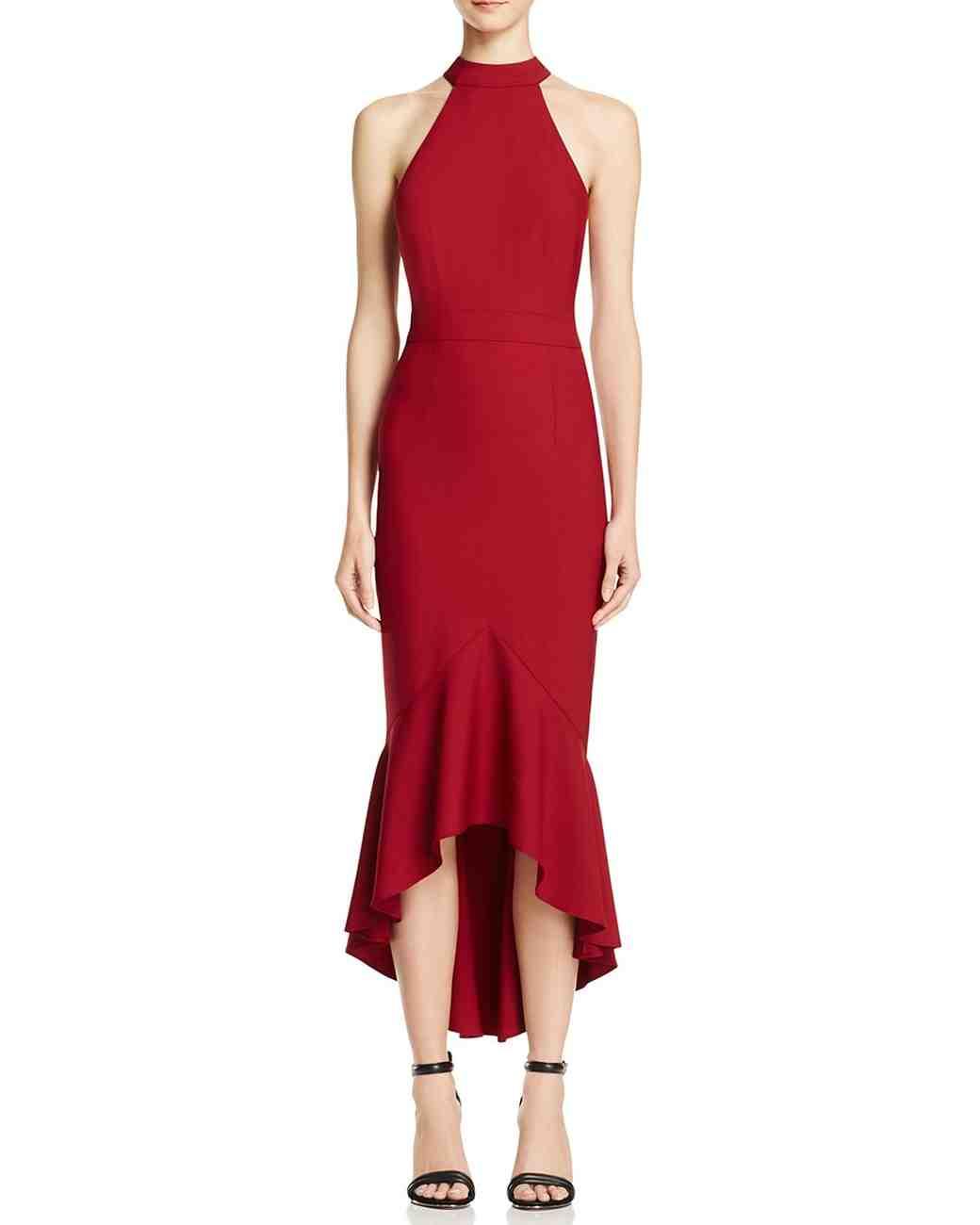 red bridesmaid dress jarlo bow back midi