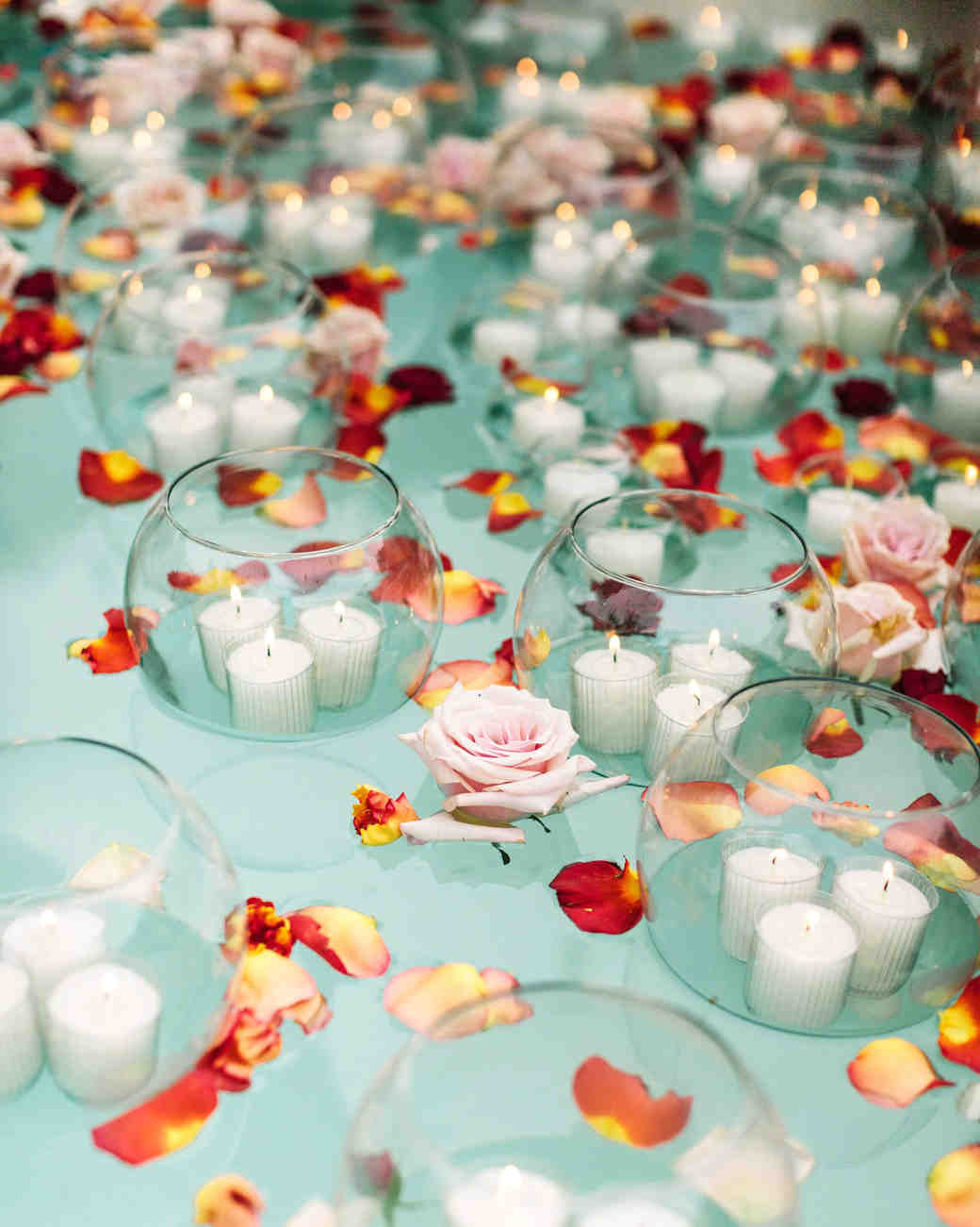 regina chris wedding floating petals candles