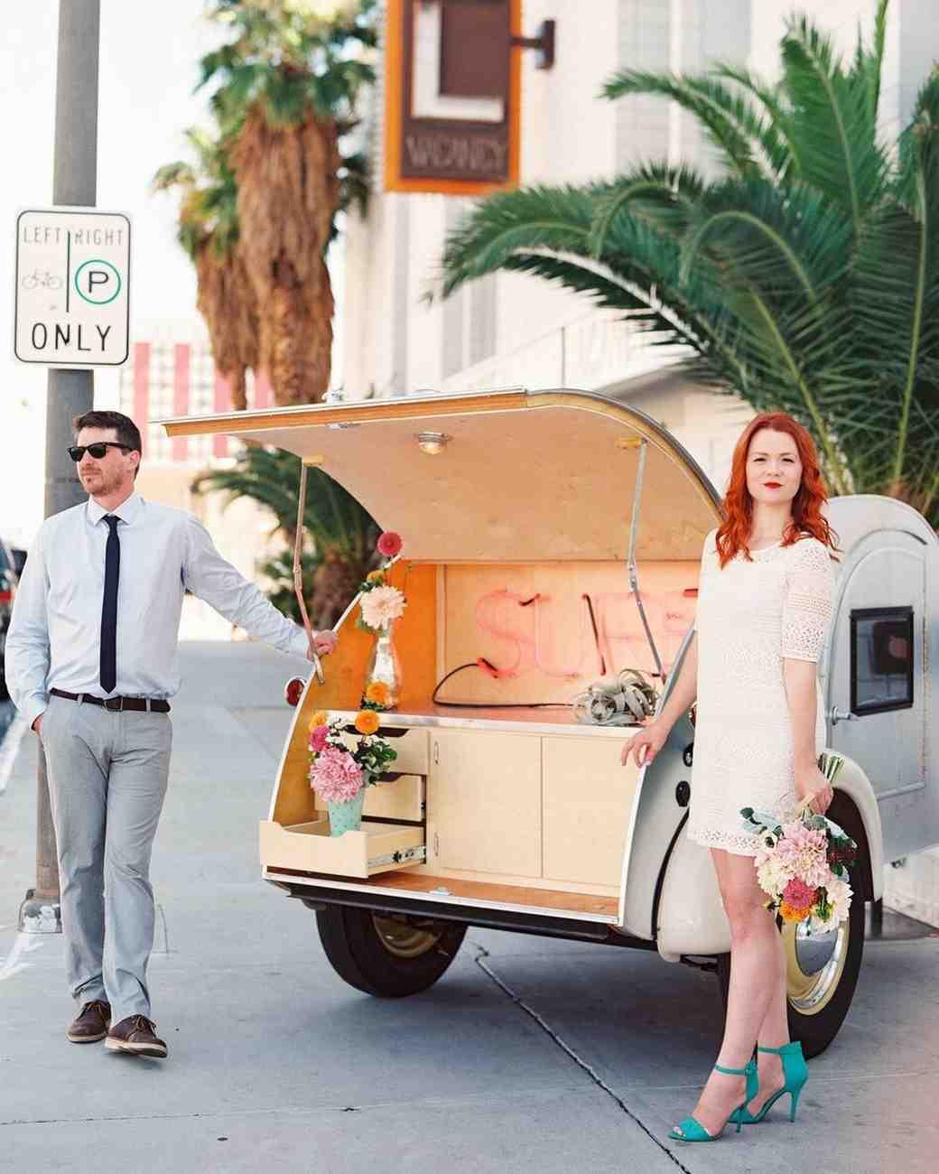 short wedding dress turquoise shoes couple