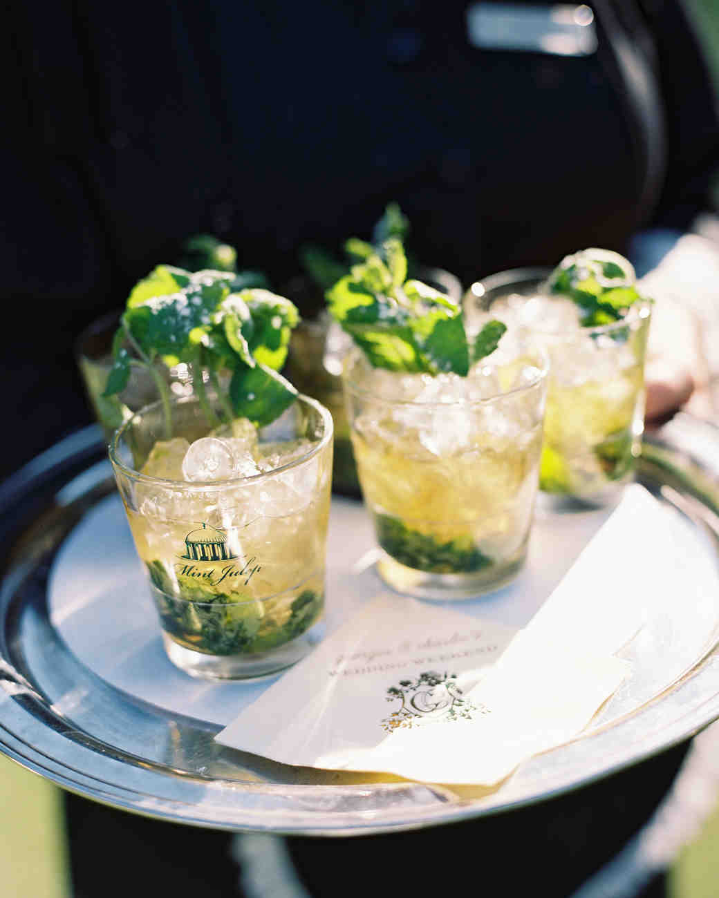 mint juleps on a tray