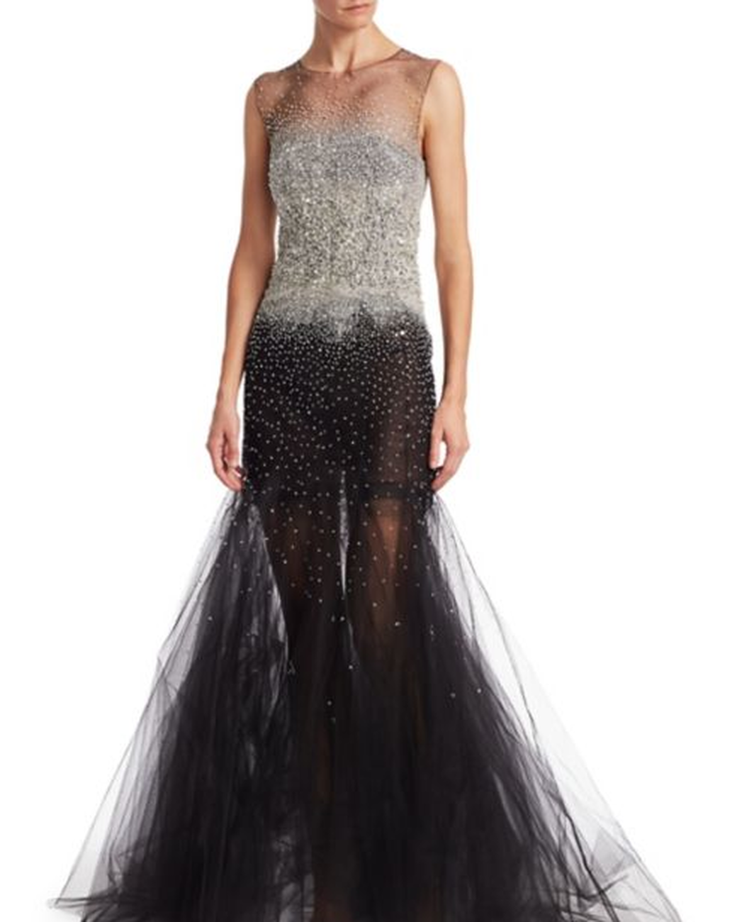 Sleeveless Oscar de la Renta Mother of the Bride Dress with Embroidered Top