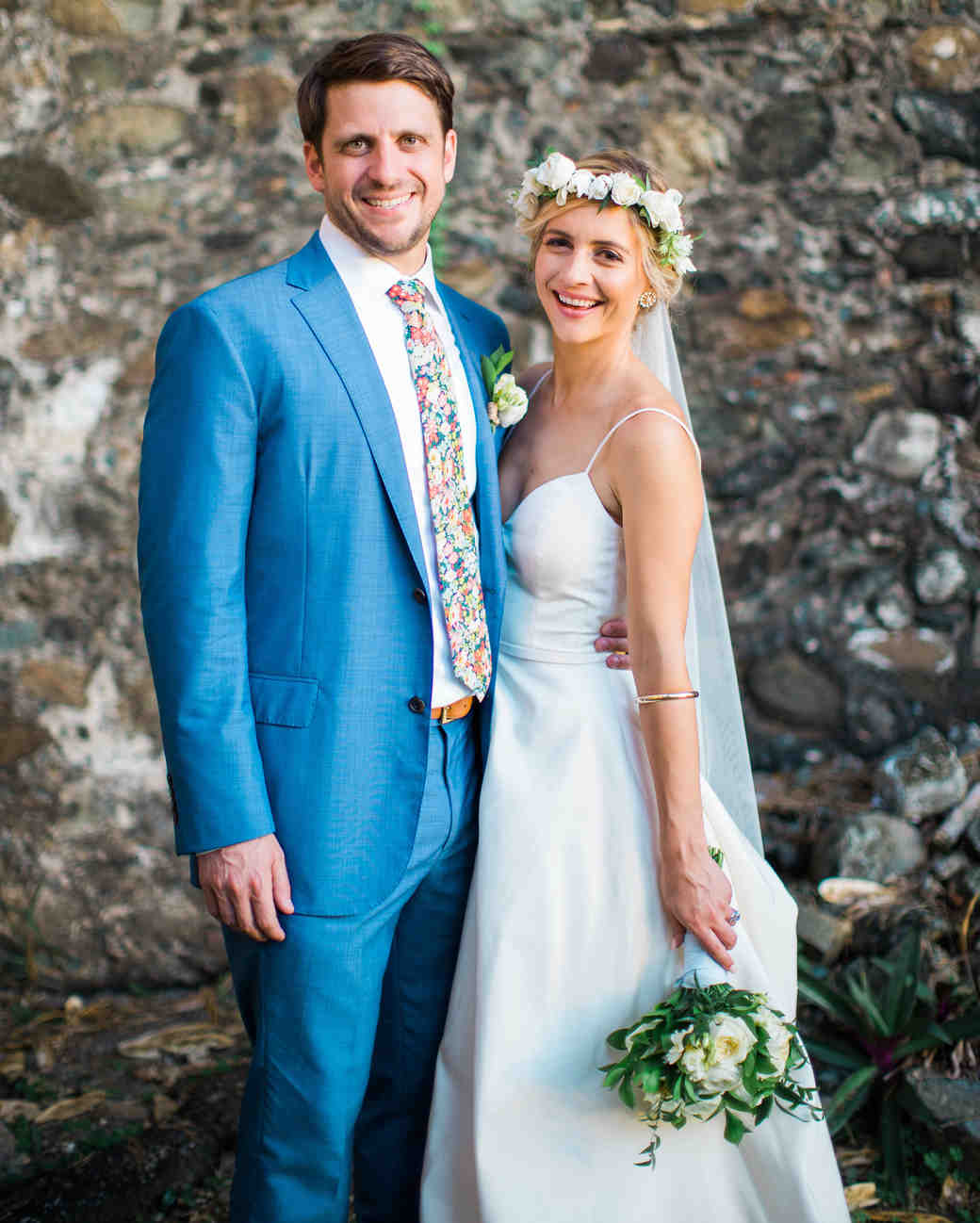 Island Wedding Groom in Blue and Bride Wearing a White Flower Crown