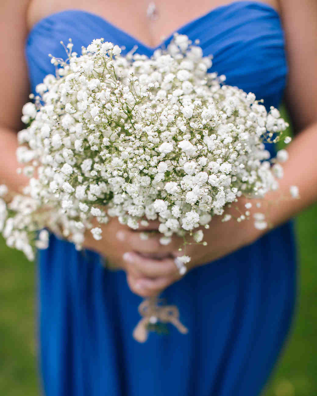 Rustic babys breath wedding bouquet