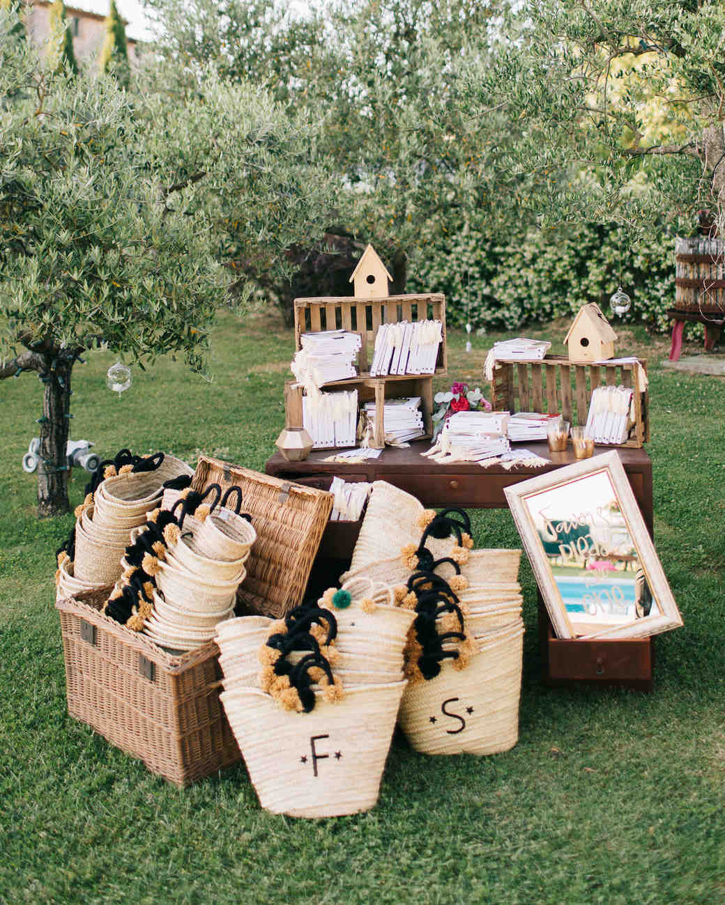 favors table outdoors bags monograms