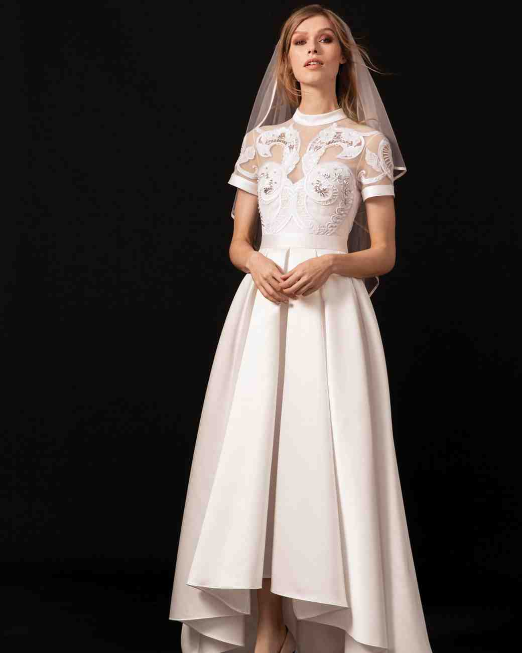 Temperley Collar Cap Sleeve Wedding Dress Spring 2018