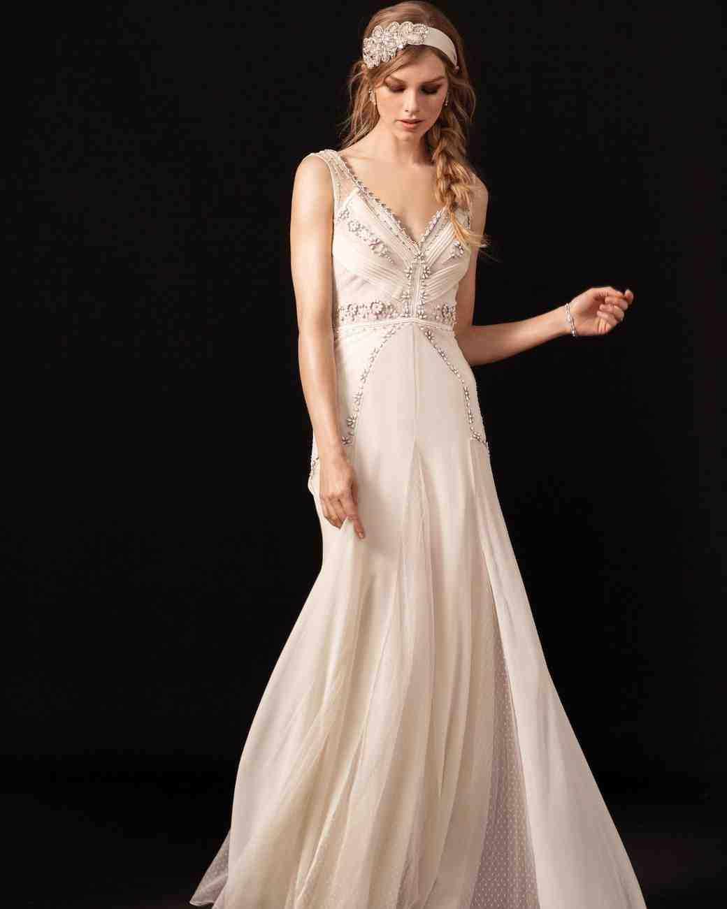 temperley v-neck beaded wedding dress spring 2018