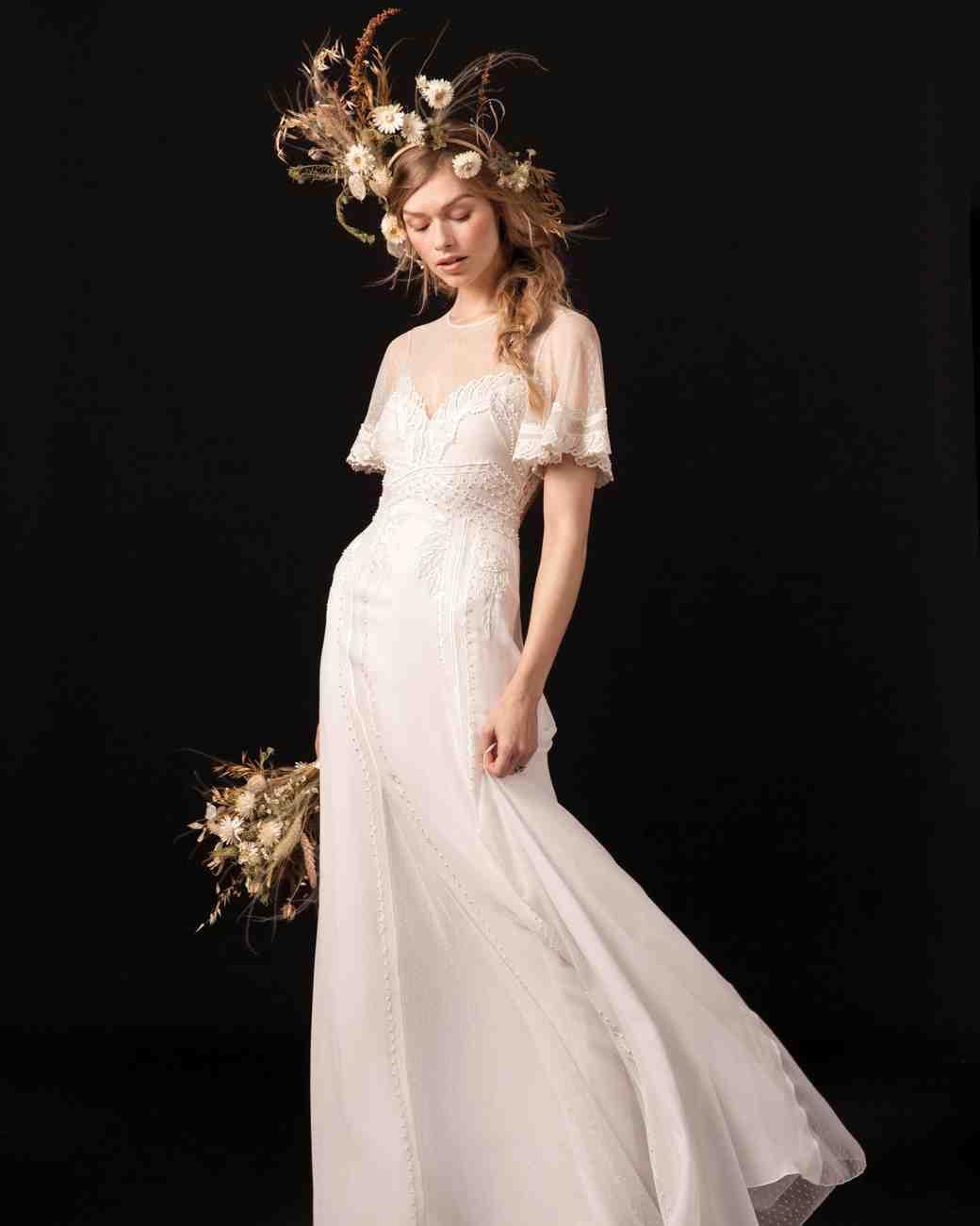 temperley flutter sleeve lace wedding dress spring 2018