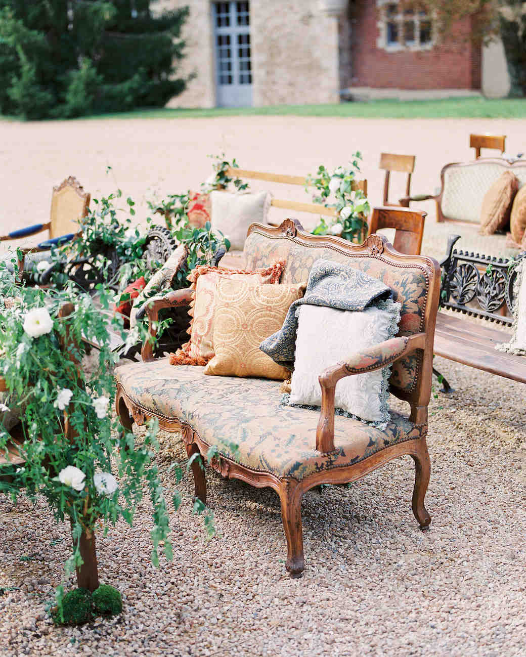 ceremony with mismatched chairs
