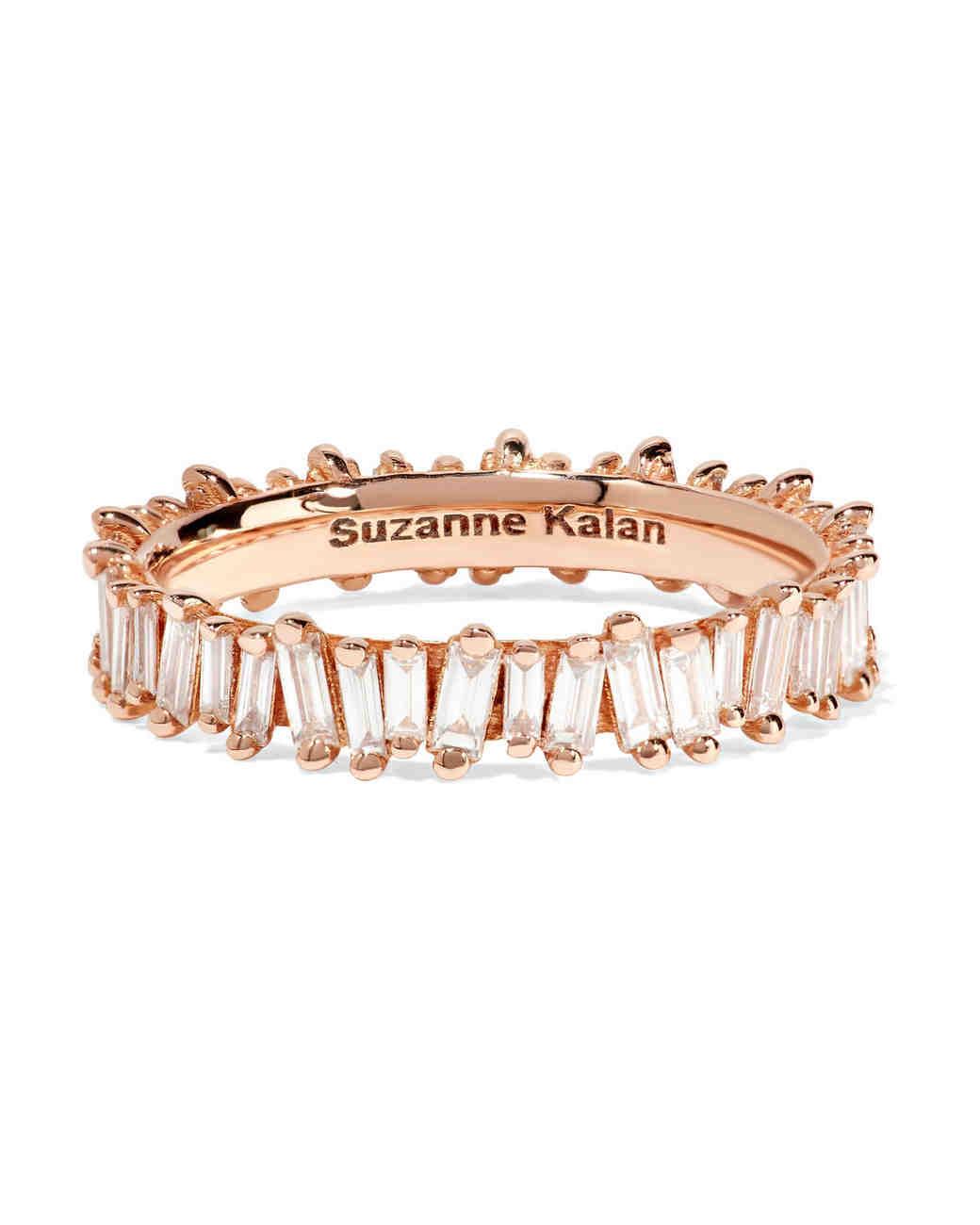 rose gold baguette-cut diamonds engagement ring