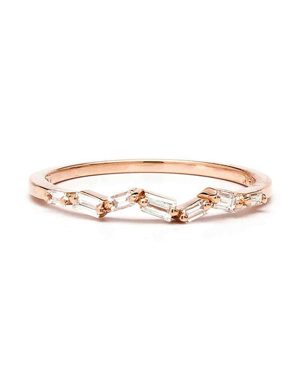 Rose Gold Diamond Baguette Thin Band engagement ring