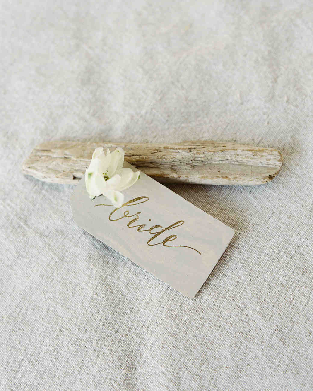 wedding place card driftwood