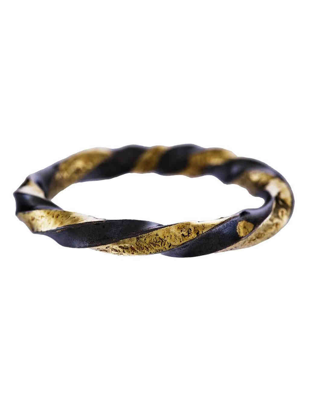 twisted two tone gold wedding band