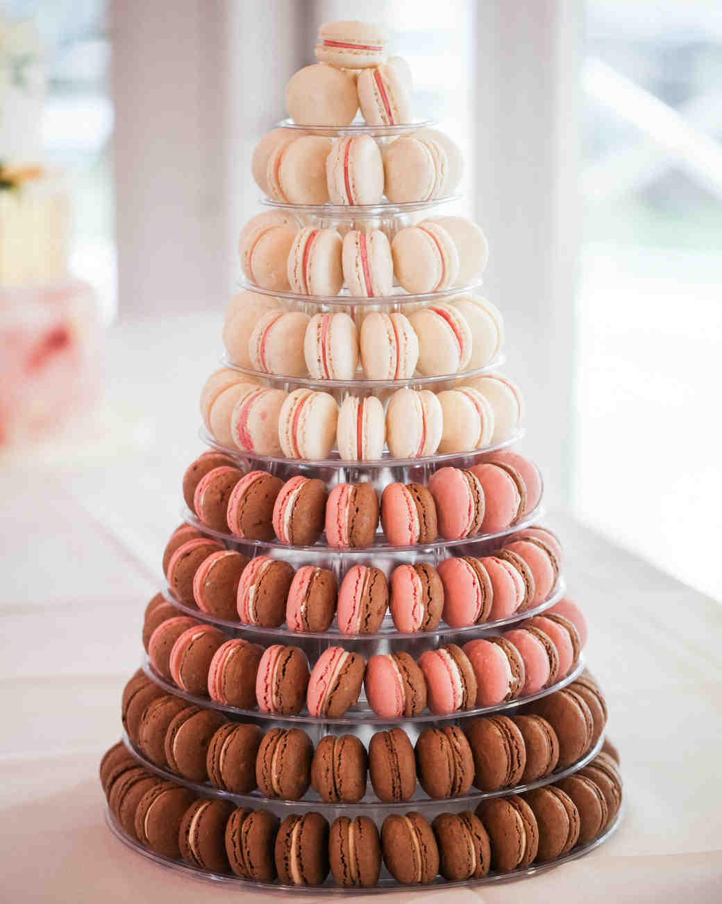 white pink and brown macaron tower
