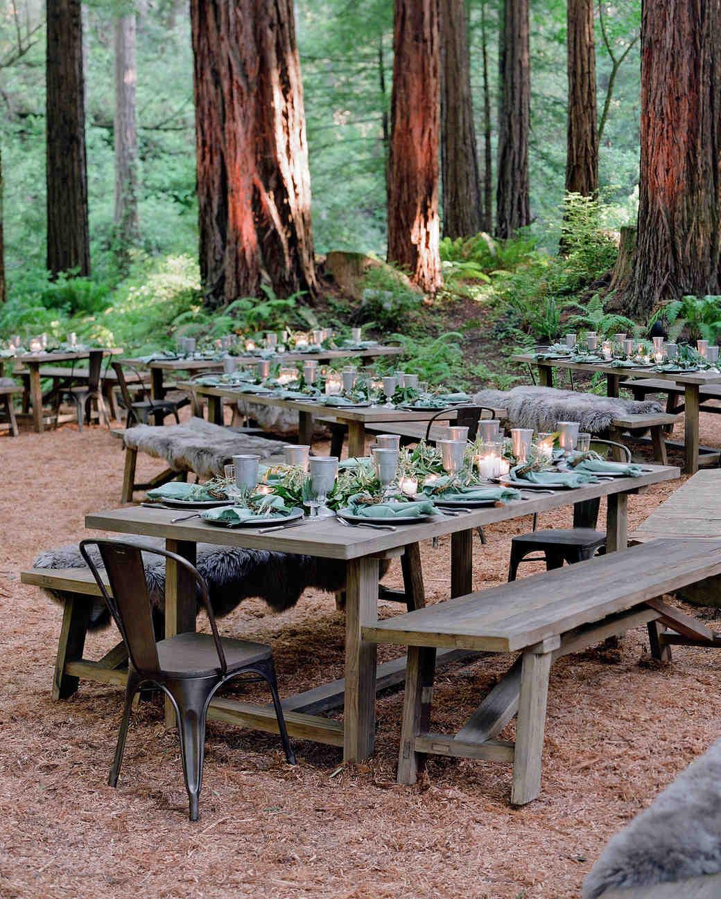 whitney zach rehearsal dinner long tables woods