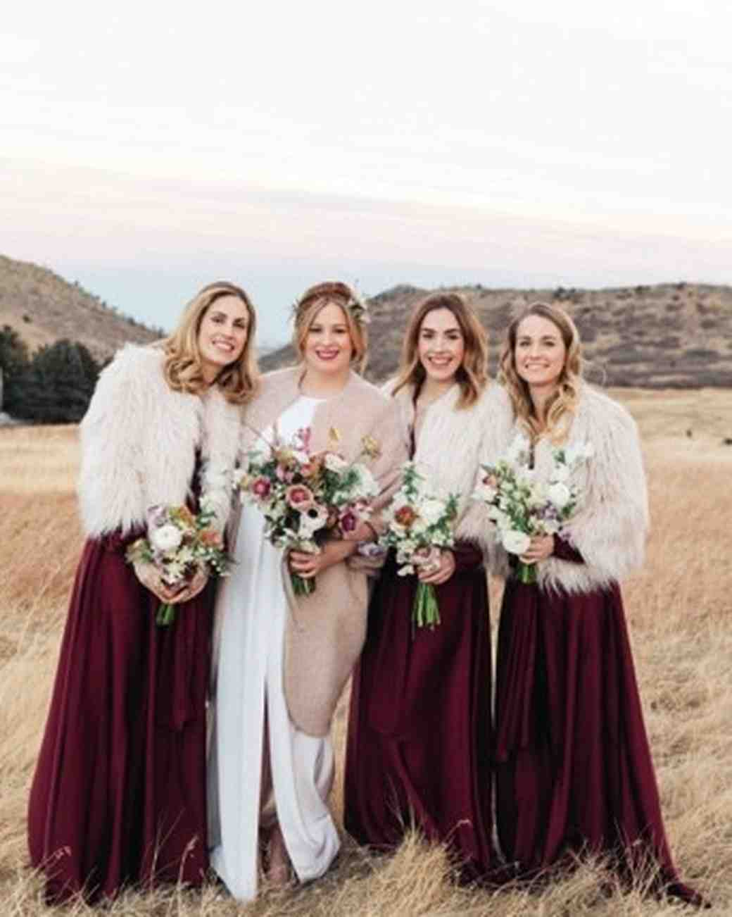 22 winter wedding color palettes that arent just red and green bridesmaids in field junglespirit Images
