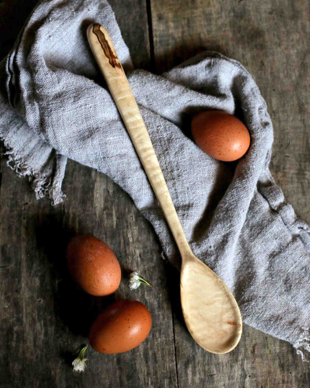 wood anniversary gift spoon tomatoes towel