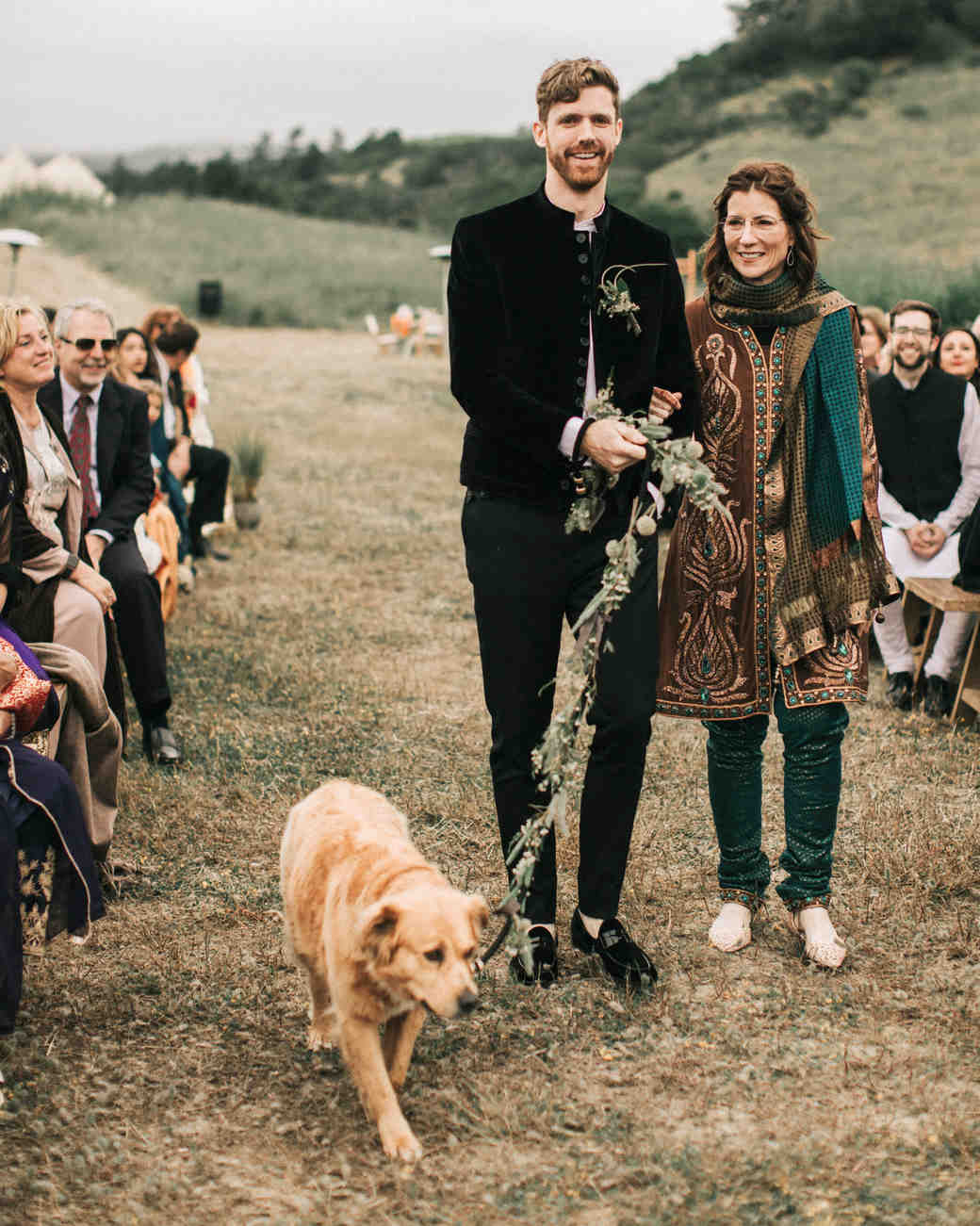 zai phil camping wedding processional mother groom dog