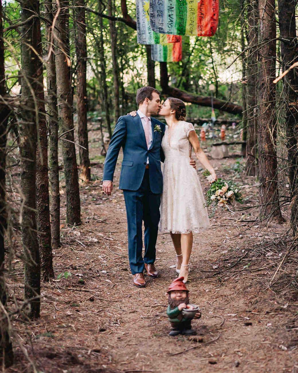amy nick wedding couple gnomes kiss