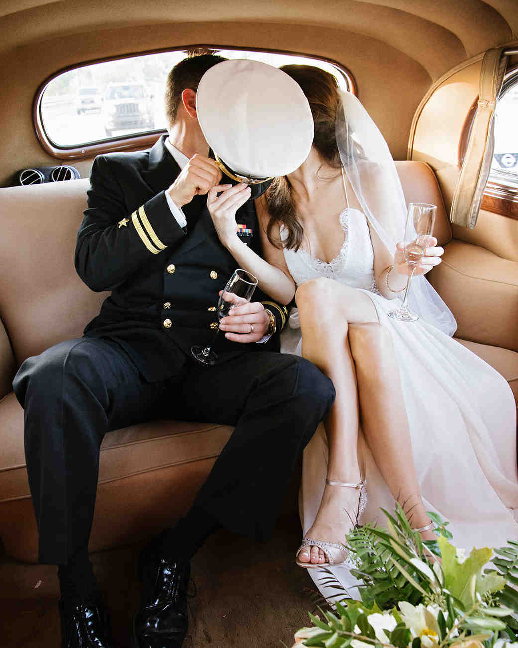 anne and staton wedding backseat kiss