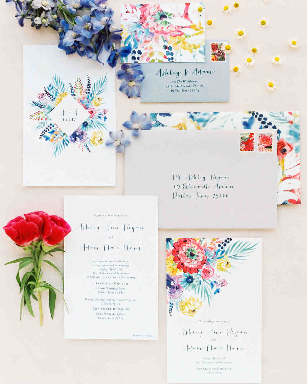 ashley adam wedding texas stationery