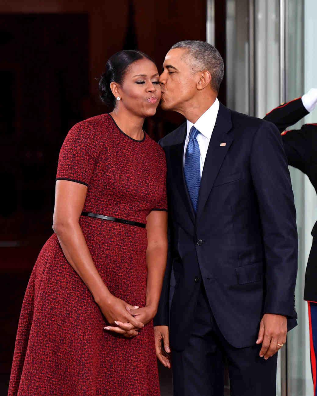 barack obama and michelle obama kiss on cheek