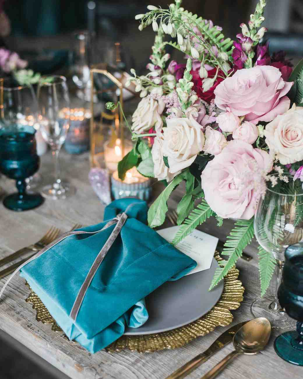 blue napkin place-setting