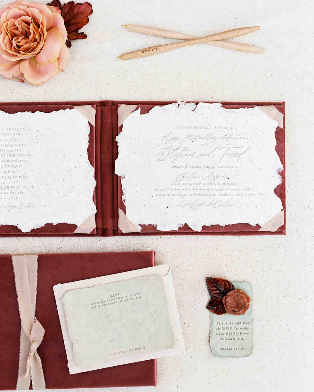 booklet stationery idea with red and white pocket details