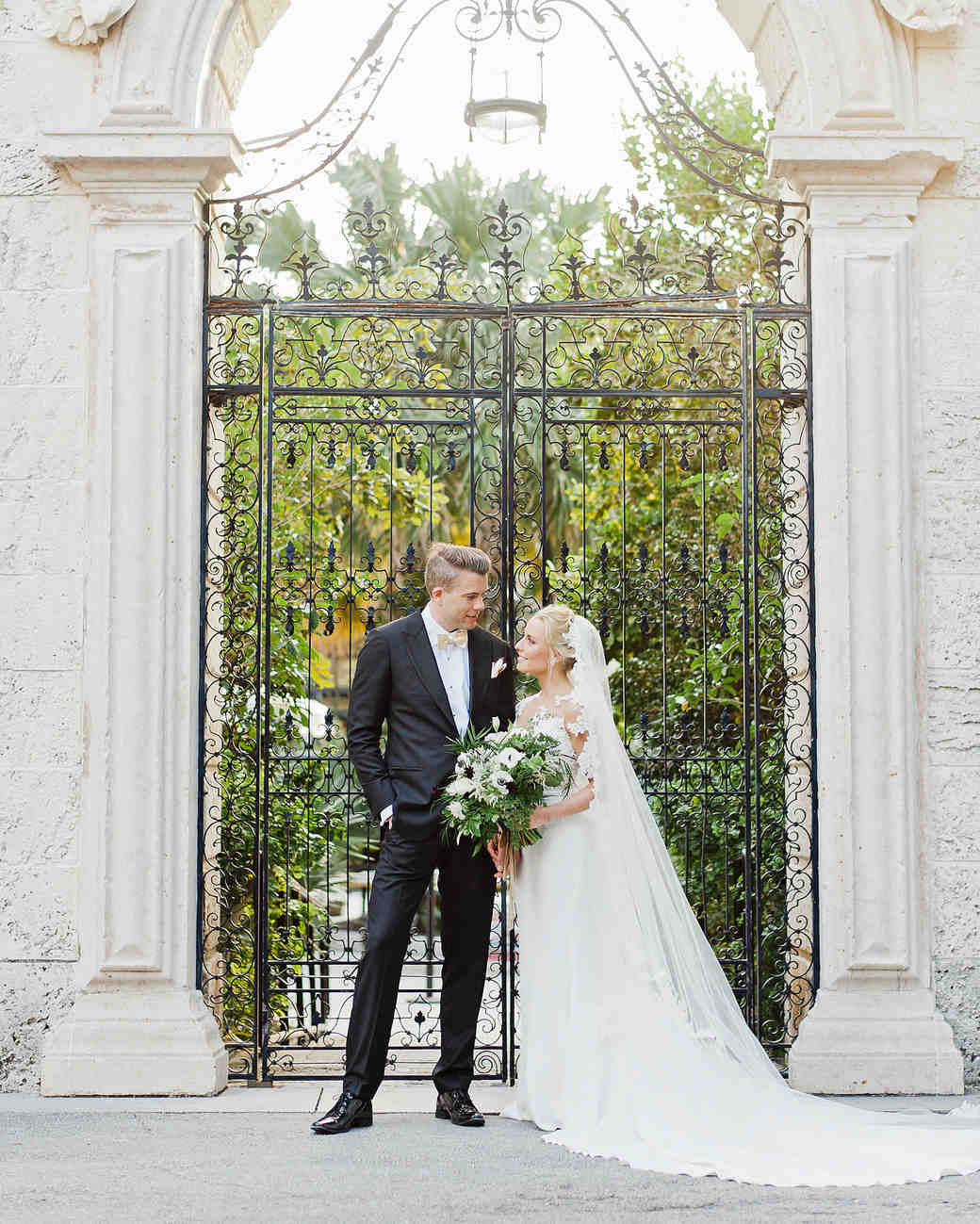brette patrick wedding couple gate