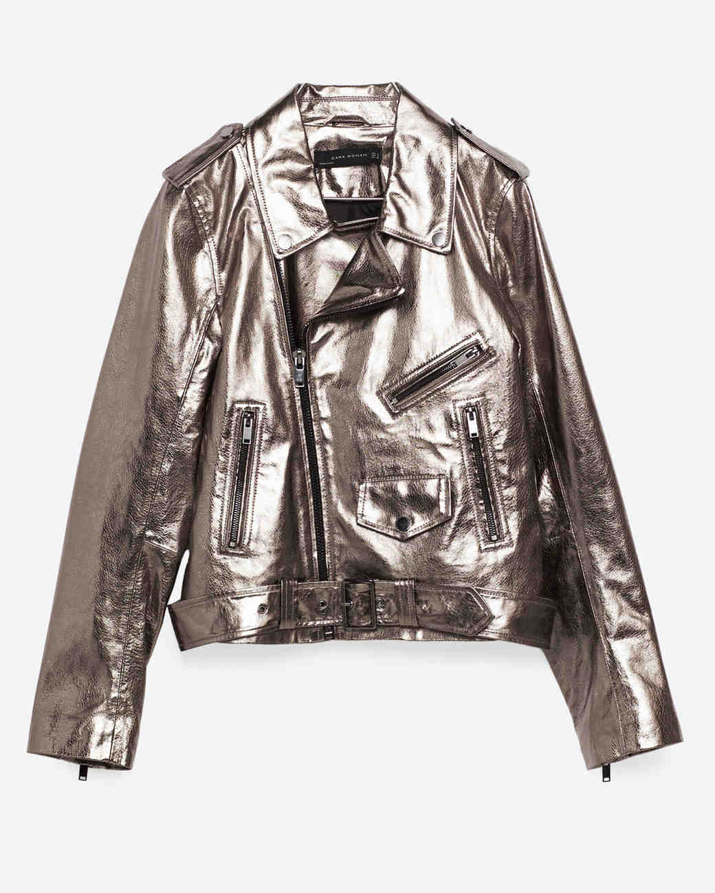 Zara Metallic Leather Jacket