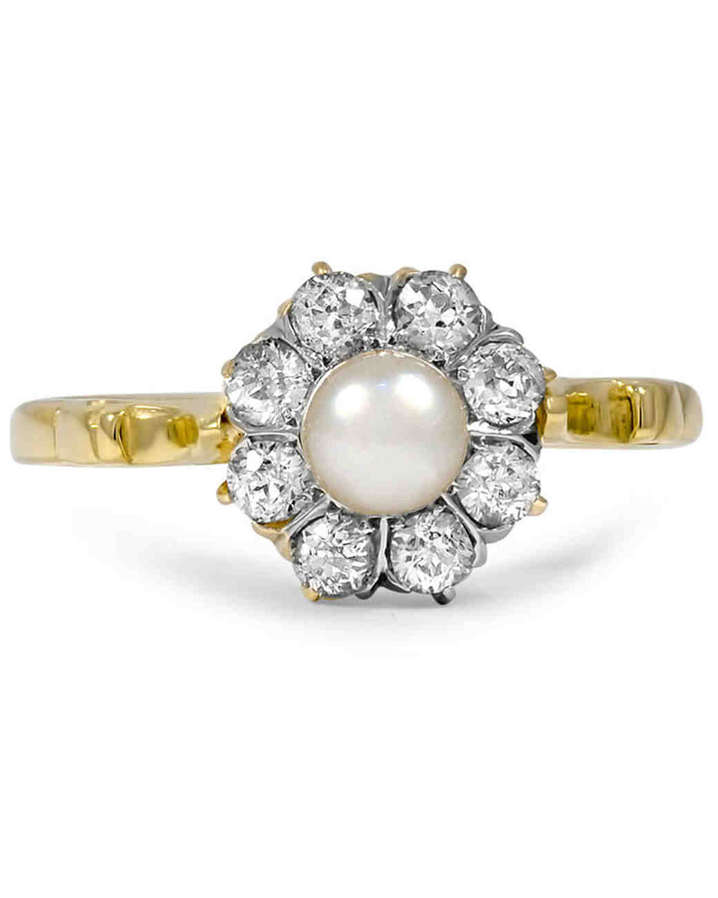 pretty pearl engagement rings martha stewart weddings - Pearl Wedding Ring
