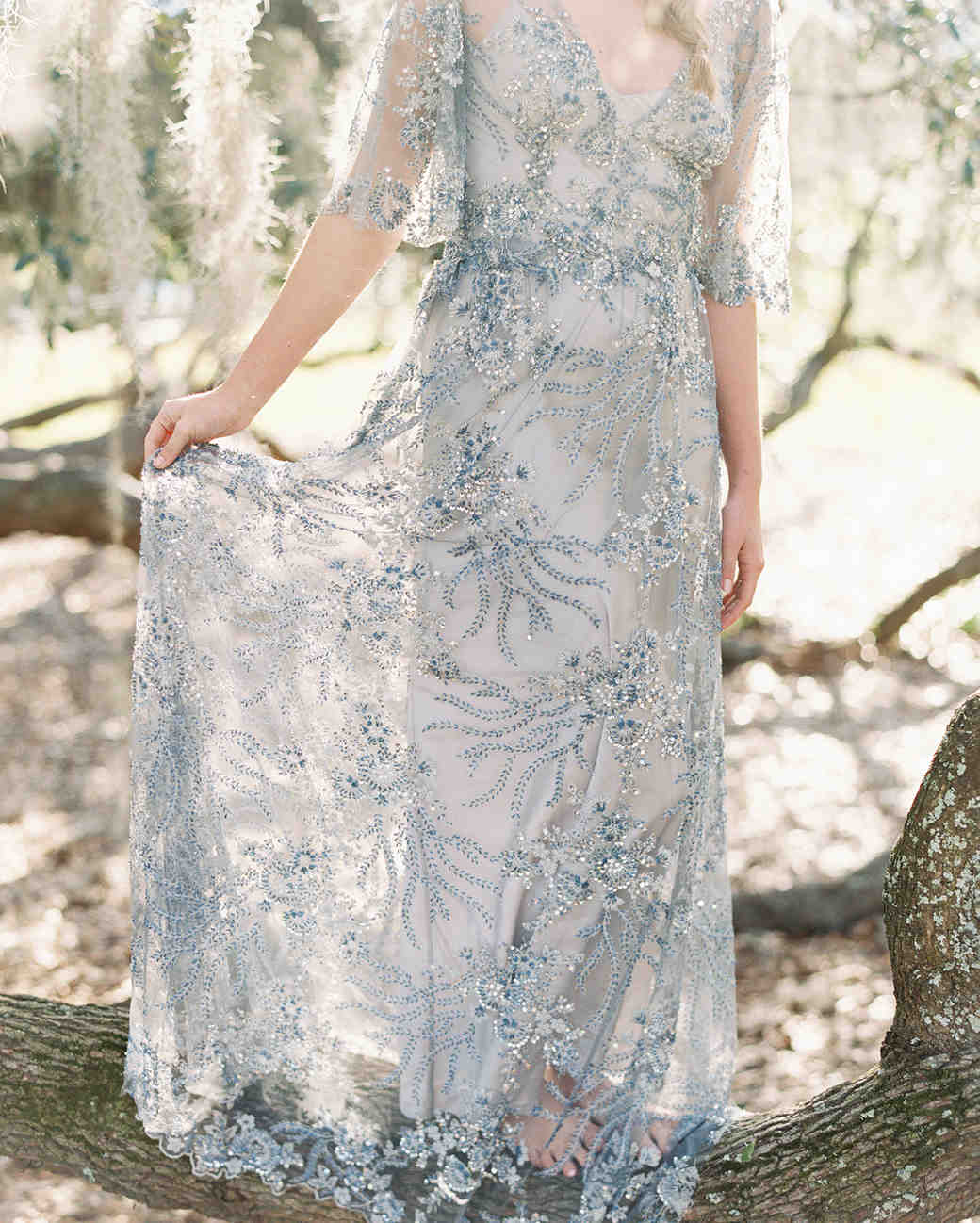 light blue wedding dress with embroidery