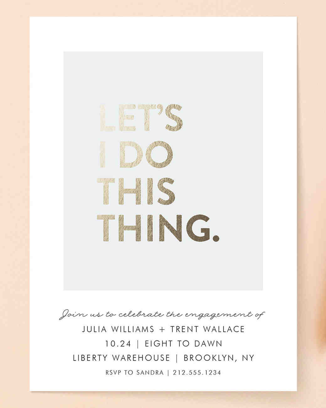 Ellis for Minted Gold-Foil Engagement Party Invitations