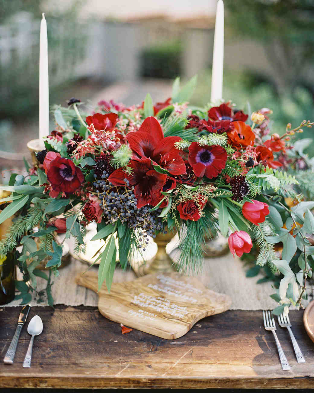 Moody Burgundy Centerpiece for Fall