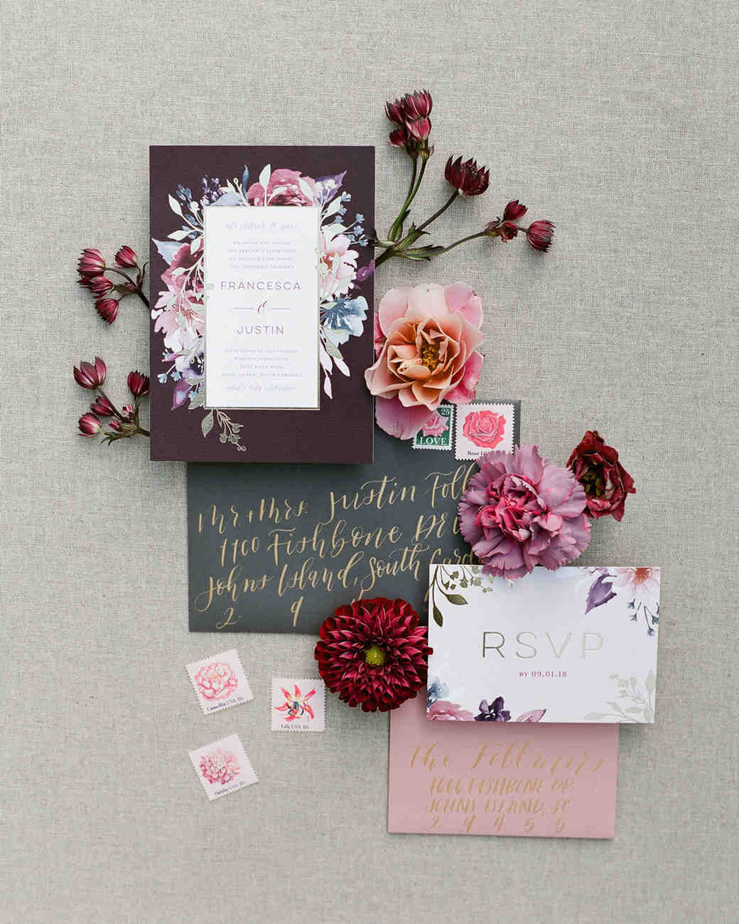 floral watercolor designed stationary