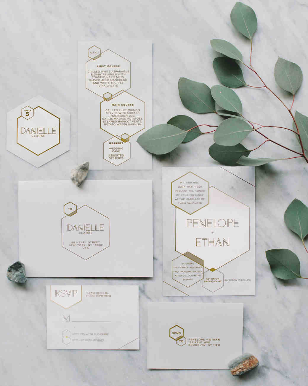 hexagonal wedding invitation