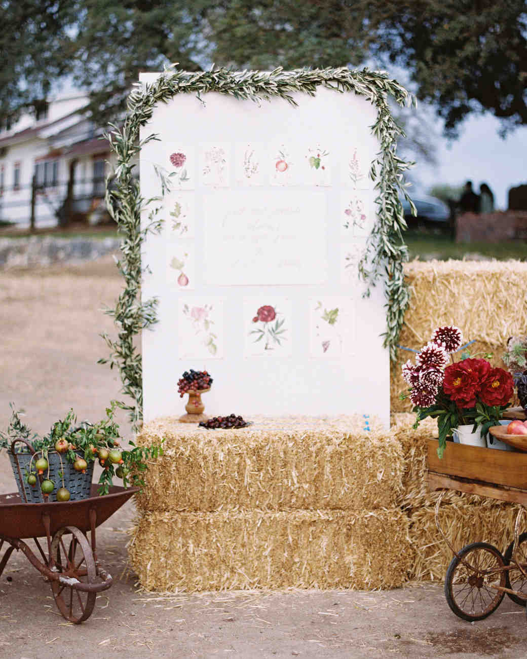 Fall Wedding Signage with Flowers and Hay Bales
