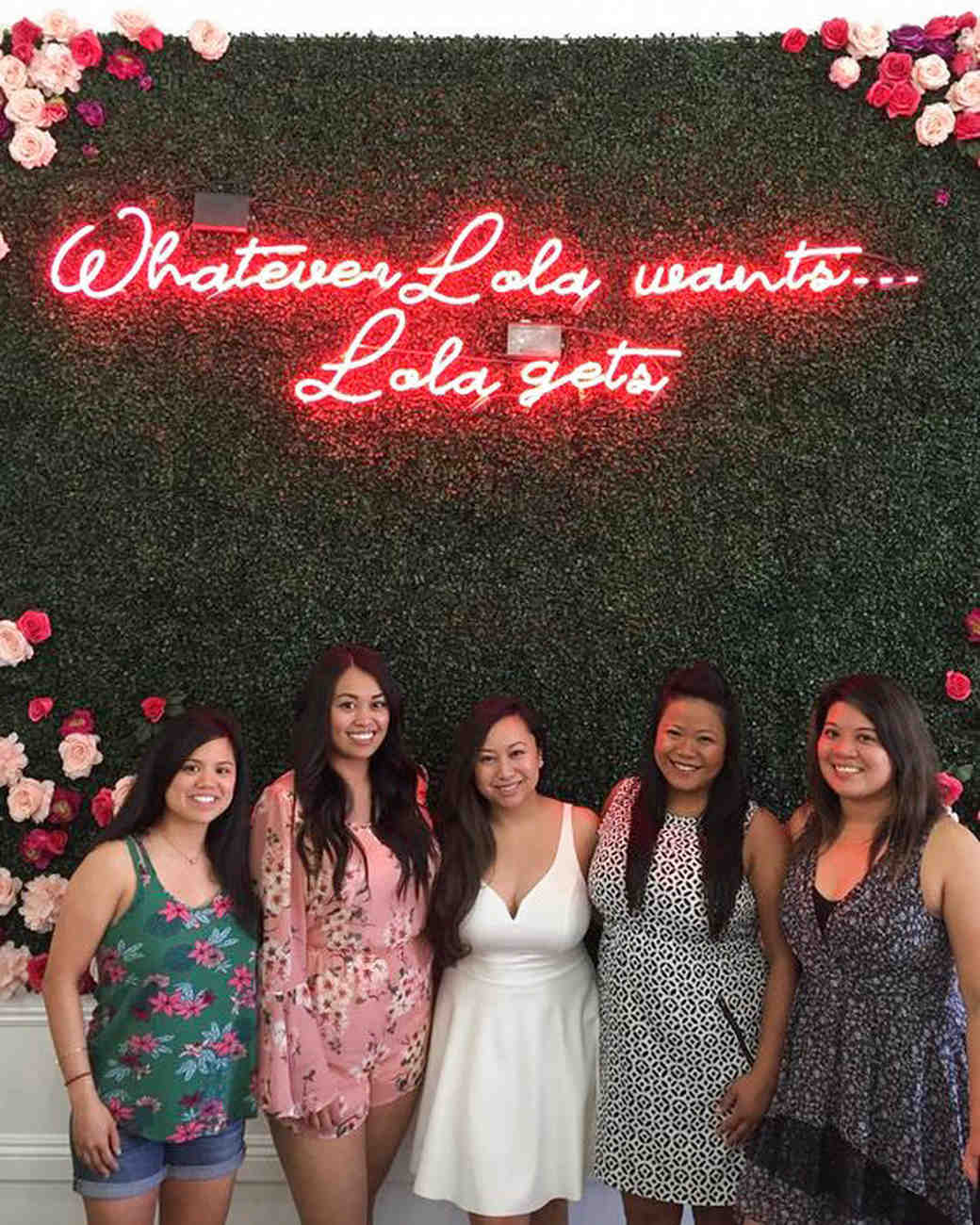 bridal shower ideas floral back drop neon sign